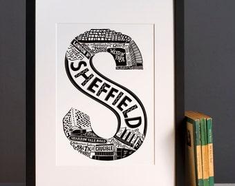 Sheffield print - Graduation gift - University town - Typographic art - Sheffield poster - Sheffield artwork