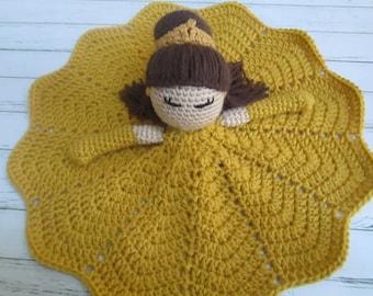 Crochet Princess Doll- Belle Lovey Doll DouDou Toy Blanket RTS