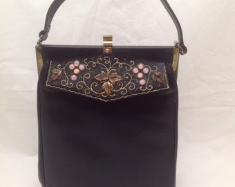 Vintage Etra Black Leather Handbag Purse with Grapes, Vine and Leaves Detail