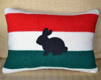 Bunny Rabbit Pillow READY to SHIP handmade of Glacier Park Blanket fabric bunny rabbit silhouette easter holiday home decor pillow
