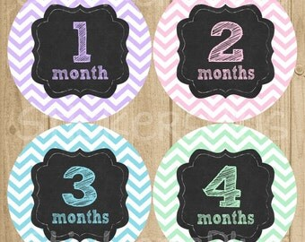 Baby Girl Monthly Stickers Baby Month Stickers Chalkboard Chalk Chevron PRECUT Baby Age Bodysuit Milestone Stickers Baby Shower Gift
