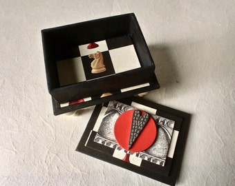 Handmade Box in Black White and Red with Pewter Heart for Jewelry and Gifts