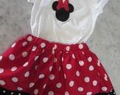 Girls Mini mouse outfit, Mini birthday, red and white polka dot  t shirt, skirt and hair bow size 3t ready to ship