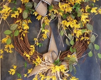Forsythia wreath  - Wreath Great for All Year Round - Everyday Burlap Wreath, Door Wreath, Front Door Wreath, wedding, forsythia