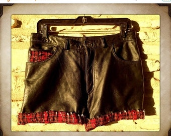 Sale Black Leather Shorts with Plaid Trim and Safety Pins size Small