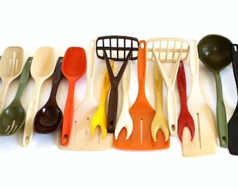 Nylon Plastic Foley Kitchen Utensils 1970s 1980s Kitchen Spatulas Spoons Forks Potato Mashers Ladles