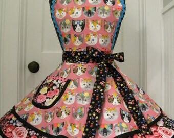 WOMENS APRON-Dressy Kitties Flounce Apron