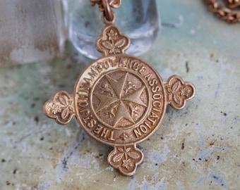 St Johns Ambulance Association Necklace - Brass Cross shaped Medallion
