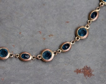 Blue Glass In Copper Circles - Vintage Short Necklace - M&S