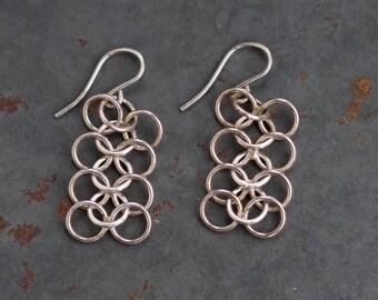Chainmail Earrings - Sterling Silver Dangle Interlocking Hoops