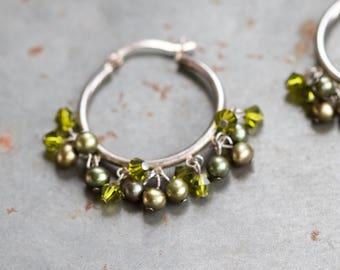 Hoop Earrings with Green Pearls - Sterling Silver dangle Earrings