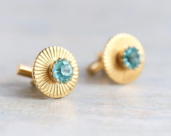 Sky blue and Gold Cuff Links - Vintage Kitsch Men