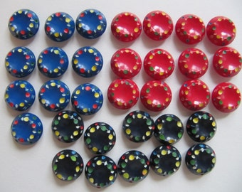 1930s casein buttons, 32 Art Deco colorful plastic buttons, 16mm vintage galalith good quality self shank button, 5/8th inch, red blue black