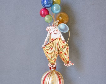 victorian christmas ornaments, clown ornament, victorian ornament, circus ornament, circus clown ornament - CHESTER THE CLOWN