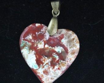 Coprolite Heart Pendant bronze bail 21ct