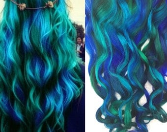 Half Set Green Hair, Blue Green Ombre, Clip In Hair Extensions, Mermaid Hair, Blue Hair, Hair Wefts, Human Hair Extensions, Bundle