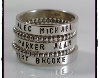 Sterling Silver Stacking Name Ring- personalized ring SET OF 5 -Hand Stamped Ring -Size 5, 6, 7, 8, 9, 10