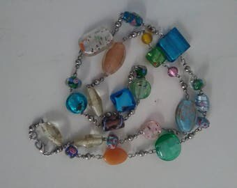 Vintage Multicolored Glass Beaded Fashion Necklace