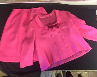 "Vintage Custom Made Hot Pink Tweed ""Jackie O"" Style Suit"