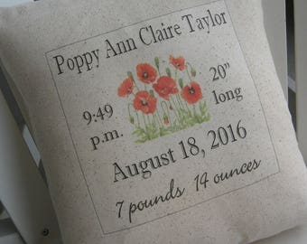 Birth Announcement Pillow, Poppies, Baptism, Nursery, Gerber Daisy, Sunflower, New Baby, Personalized Baby Pillow, Newborn, Custom Baby Name