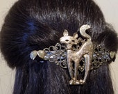 Large Barrette for Thick Hair /Cat Barrette/ Womens Gift