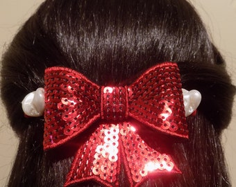 Large Red Barrette for Thick Hair Bow/ Womens Gift