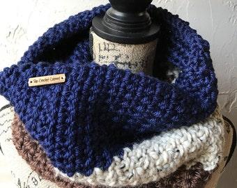 Color Block Cowl, Crochet Color Block, Color Block Scarf, Crocht Color Block Scarf, Snood, Navy/Tweed/Brown, Color Block