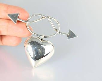 Heart Arrow Brooch, sterling silver lovers knot vintage 1980s jewelry