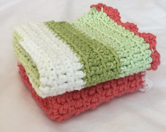 Crochet Dish Cloth Set, Wash Cloth Set, Pink, Crochet, Free Shipping!!