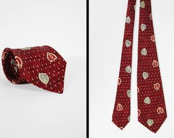 Vintage 50s Red Silk Shield Necktie Swing Era Allover Print Men's Tie