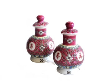 Vintage Asian Chinese Vinegar and Oil Cruet Set Cranberry Pink Chinese Characters Rare