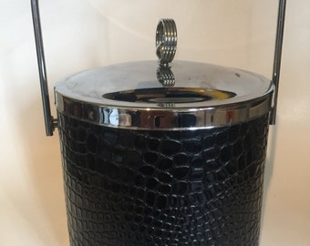Faux crocodile champagne bucket with our deco detail knob. Mid century entertaining. Bar Cart