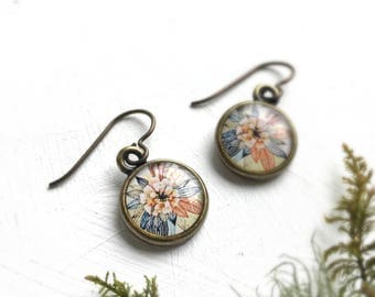 Gardening Gift,  Pretty Earrings, Flower Garden Art Jewelry, Zinnia Flower Earrings
