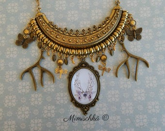 Necklace fairyland deer horn butterfly gypsy dragonfly bohemia
