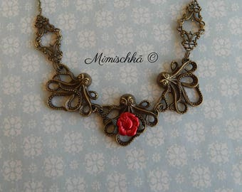 necklace retro vintage octopus red rose