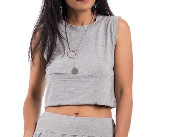 Grey top, crop top, sleeveless top, grey tank top, sport top, grey halter top : Urban Chic Collection No.34