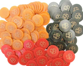 Vintage 1940's Set of 100 Marbleized Swirl Bakelite Poker Chips - WMB Monogrammed Chips - Butterscotch Yellow, Green, and Red
