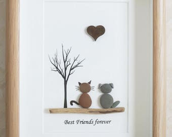 Pebble Art framed Picture - Dog and Cat - Best Friends forever