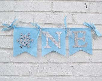 Winter Onederland Banner - 1st Birthday banner - Snowflake Birthday - winter onederland party - snowflake banner - boy winter onederland