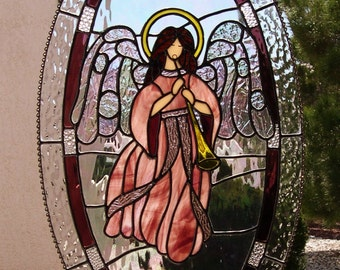 Stained Glass Angel with Halo Playing Horn 791