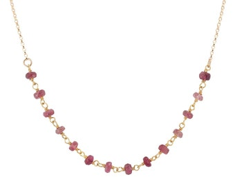 Pink Tourmaline Necklace, Gold Filled Chain, Delicate Layer Necklace, Hearth Chakra Stone, Spiritual Jewelry, Gifts for Women #6527-yg