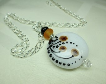 Black and White and Gold Lampwork Bead Pendant Necklace