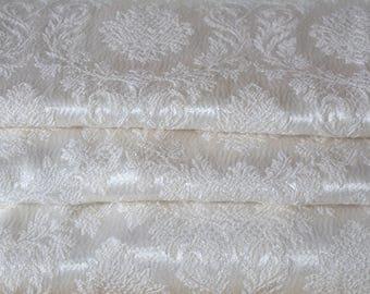 Cream Satin Curtains, 1940s Hollywood Brocade