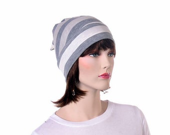 Sleep Hat Gray and White Striped Cotton Mens Nightcap Women Night Cap Elf Hat Scrooge Grey Unisex Adult Poor Poet Hat