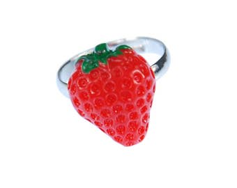 Strawberry Strawberry Ring Ring Miniblings fruits strawberry red green half flat
