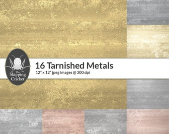 16 tarnished metal papers, dirty metal textures, grunge metal backgrounds,copper,titanium,platinum,cobalt,iron,aluminium INSTANT DOWNLOAD