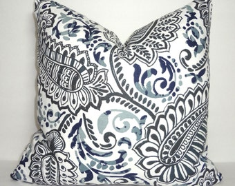 Grey Blue Paisley Floral Pillow Cover Decorative Pillow Cover Paisley Pillow Cover Choose Size