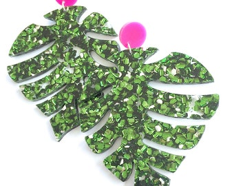 Super Monnie Drops Glitter - Emerald Green and Hot Pink - Laser Cut Drops Earrings - Leaf Earrings - Each To Own