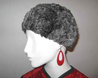 Vintage Duby Grey Faux Persian Lamb Beanie Hat; Fake Fur; Lord and Taylor; Warm Winter Hat; Designer Hat