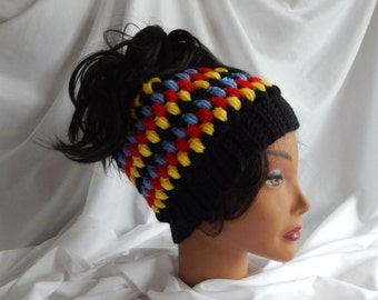 Messy Bun Hat Pony Tail Hat - Crochet Woman's Fashion Hat - Red, Yellow, Blue